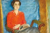 Lady in red blouse tempera on canvas 70 x 100,5 cm