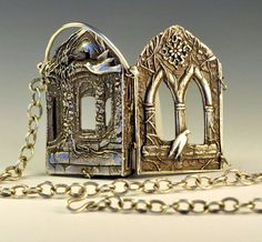 The Ruins (outside view) by Christi Anderson - Richly carved four sided book pendant with a poem written by my daughter on the inside.