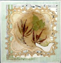 Encaustic art, tea bag art, nature items pressed and encased in a used round tea bag, collage on canvas.