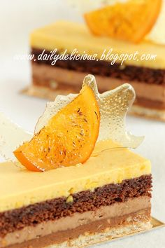 dailydelicious: Valencia: Orange, Chocolate and Nut Entremets, wonderful recipe from chef Sadaharu Aoki - Easy Ethnic Recipes Elegant Desserts, Fancy Desserts, Just Desserts, Delicious Desserts, Bakery Recipes, Chef Recipes, Sweet Recipes, Cake Boss Recipes, Mini Cakes