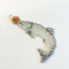 King Salmon Charm Fathers Day ornament in by NorthToAlaskaDesigns Seed Bead Earrings, Beaded Earrings, Bead Necklaces, Star Earrings, Beading Tutorials, Beading Patterns, Beading Ideas, Beaded Hat Bands, Peyote Stitch Patterns