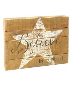 Love this 'Believe' Star Wood Wall Sign on #zulily! #zulilyfinds