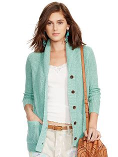 Polo Ralph Lauren Linen-Cotton Shawl Cardigan - Polo Ralph Lauren Shop All - Ralph Lauren UK