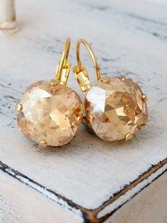 Champagne crystal drop earrings | Champagne topaz earrings by EldorTinaJewelry | http://etsy.me/1Bb716N