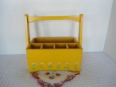 Vintage Easter Yellow  Wooden Flatware by LookingOutMyBackDoor