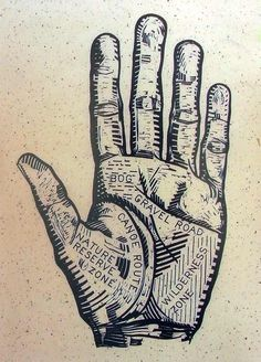 Hand Map illustrates the relationship between body and place, the scars we leave on the environment, and those the environment leaves on us