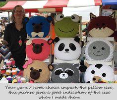 Panda Pillow - Cushion CROCHET PATTERN - crochet patterns for animal pillows - Kids Birthday present - Baby shower nursery gift Panda Pillow, Llama Pillow, Fish Pillow, Unicorn Pillow, Cat Pillow, Cushion Pillow, Animal Cushions, Cute Cushions, Crochet Cushions
