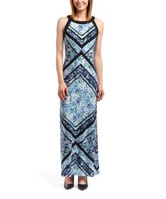 Look at this Sandra Darren Black & Blue Abstract Line Maxi Dress on #zulily today!