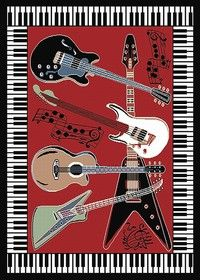 Home Dynamix Zone Red Novelty Rug - - Red Rugs - Area Rugs by Color - Area Rugs Music Inspired Bedroom, Guitar Bedroom, Music Bedroom, Dorm Room Rugs, Band Rooms, Novelty Rugs, Recording Studio Design, Bedroom Themes, Bedroom Ideas