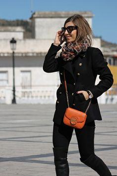orange hues on total black look I Well living blog