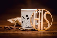 HIS-Wooden Coaster for mug-laser cut-for tea or coffe Wooden Coasters, Laser Cutting, Coffee Cups, Tea, Drink, Mugs, Tableware, Unique Jewelry, Handmade Gifts