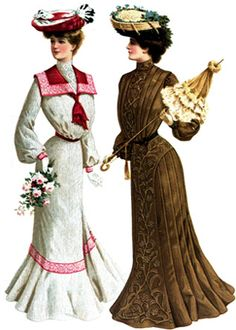 These are two Edwardian dress, very graceful. One has sailor collar with lace insertion and another in linen fabric and brown hand embroidered. We can clearly see S shape with hugged waist and inverted box pleats at the back.