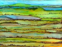 ACROSS THE FIELDS ACROSS THE FIELDS ALCOHOL INK & MICRON PEN ON YUPO PAPER i enjoyed the simplicity of this one...:) ♥ by winnetta67