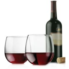 Libbey  Vina Set Of 4 Stemless Red Wine Glasses ($14) ❤ liked on Polyvore featuring home, kitchen & dining, drinkware, libbey, libbey glasses, libbey drinkware and libbey red wine glasses