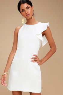 For a party perfect look just slip into the Dinah White One-Shoulder Dress and b. - - For a party perfect look just slip into the Dinah White One-Shoulder Dress and be on your way! Medium-weight, woven fabric creates a one-shoulder, rou. Cute Dresses, Casual Dresses, Short Dresses, Fashion Dresses, Summer Dresses, Halter Dresses, Skirt Fashion, Dress First, The Dress