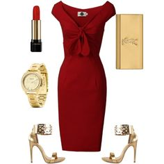 red&gold evening outfit