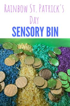 Have fun this St. Patrick's Day with a rainbow sensory bin. Hunt for gold coins as you learn by exploring. Toddlers & Preschool will have so much fun. Preschool Projects, Diy Crafts For Kids, Sensory Bins, Sensory Activities, Rainbow Rice, Toddler Preschool, Gold Coins, Rainbows, St Patricks Day