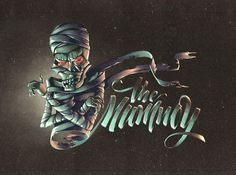 serialthrillerinspiration:    The Mummy lettering by Kinessisk. (illustration by Andrey Koval)    Amazing! #illustration #typography