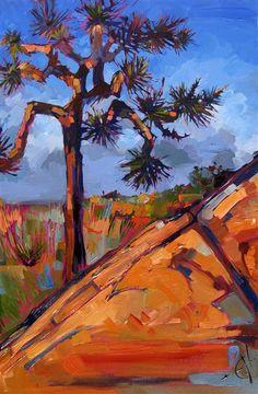 Bold orange Joshua Tree painting by Erin Hanson
