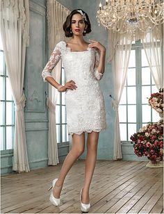 Sheath/Column Square Short/Mini Lace Wedding Dress Easebuy! Free Measurement!