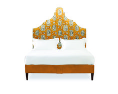 Upholstered in Jean-Paul Gaultier fabric. Design Interiors, Interior Design, Bed Design, House Design, Velvet Bed, Headboard Designs, Fabric Houses, Luxury Bedding, Bespoke