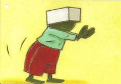 Bewegingskaart: stappen met doos op hoofd