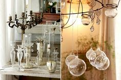 Candleholders & Chandelier with Crystal Balls & Candles