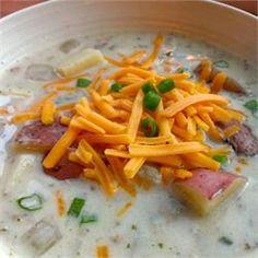 Potato soup: http://m.allrecipes.com/recipe/220910/slow-cooker-easy-baked-potato-soup/