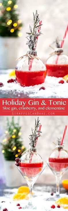This Holiday Gin and Tonic is full of the festive flavours of cranberry and clementine. This is going to be your new favourite G&T. #holidaycocktail #cocktails #gin #christmas #mixology via @giraffescanbake