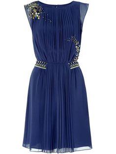 Monsoon stunning dark blue, flowy dress with metallic, sparkly details at the shoulder and waist.
