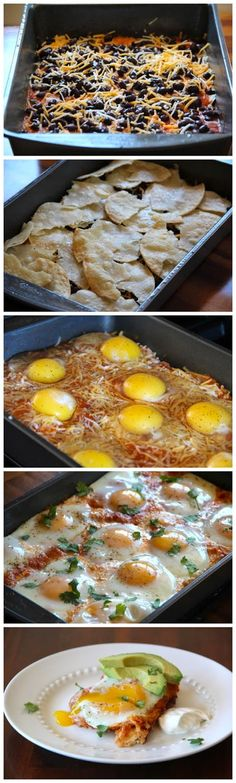 Huevos Rancheros Casserole - Maybe for a special breakfast when kids stay over. cheddar casserole vegetable casserole recipes chicken and brocolli casserole chicken and broccoli casserole chicken and stuffing casserole Breakfast Desayunos, Breakfast Dishes, Breakfast Ideas, Breakfast For A Crowd, Breakfast Sandwiches, Brunch Recipes, Pancake Recipes, Crepe Recipes, Waffle Recipes