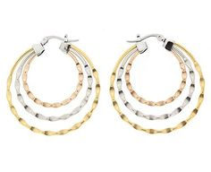 Edforce Stainless Steel Tri-Tone Lady's Hoop Earring with Three Wavy Rings and Lock
