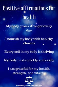 Vitality and health are key elements in keeping an abundant frame of mind, if you are feeling a little unhealthy at the moment, whether it be a cold or a disease remind yourself with these positive affirmations Healing Affirmations, Affirmations Positives, Daily Positive Affirmations, Morning Affirmations, Positive Thoughts, Positive Vibes, Affirmations Success, Law Of Attraction Affirmations, Frame Of Mind