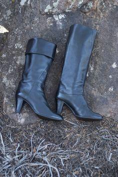 Vintage Boots / Black Italian Calfskin Leather Fold Down Tall Boots size 8 #madeinItaly #FashionKneeHigh