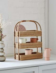 Three Tier Rattan Storage Basket Extra Storage, Storage Baskets, Home Accessories Stores, Utility Shelves, Rattan Basket, Beauty Essentials, Natural Materials, Contemporary Furniture, Cool Kitchens