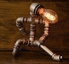 Items similar to Designer Industrial Lighting, Kongfu man - Steampunk Lamp Table Lamp Edison Vintage Light Water Pipe Bedside Lamp Rustic Light on Etsy Rustic Lighting, Industrial Lighting, Vintage Lighting, Urban Industrial, Bedside Lamps Rustic, Water Lighting, Light Water, Steampunk Lamp, Pipe Lamp