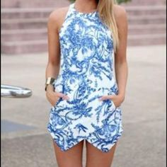 Blue & white Xenia romper Backless Romper with pockets, Austrian size equivalent to US size 4/6 Xenia Other