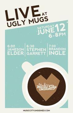 Coffee Shop Gig Posters by Jon Dicus, via Behance