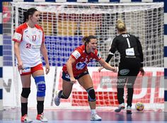 Norway's Nora Mork (C) celebrates after scoring a goal during the Women's European Handball Championship Group II match between Denmark and Norway in Helsingborg, Sweden on December 11, 2016. / AFP / JONATHAN