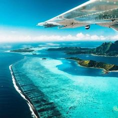 Taking flight over the dreamy blue water of Bora Bora 🌍 . Places To Travel, Travel Destinations, Places To Visit, Voyage En Camping-car, Photo Voyage, Montecarlo Monaco, Destination Voyage, All Nature, Travel Goals
