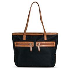 Women's Solid Tote Handbag with Brown Trim - Black