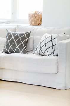 Grey and white throw cushions from Chhatwal & Jonsson in Sweden. Living Room Interior, Home Living Room, Home Interior Design, Living Room Inspiration, Home Decor Inspiration, Decor Ideas, Lounge Cushions, Throw Cushions, Pillows
