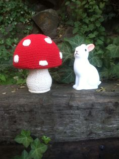 Dotcomgiftshop Woodland Rabbit night light & Anne Claire Petit red and white toadstool crochet coin bank. #bunnyinthewild