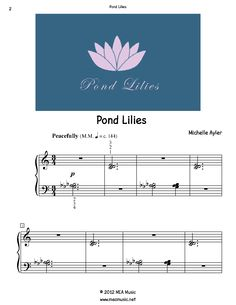 Pond Lilies Piano Sheet Music Solo.  First page sample of a composition written for piano solo. This piece is for beginning piano students. Great for students that are open to playing pretty much anything. Use this sheet music for piano recitals, lessons, and more.  A level 3A piano music sheet in the key of G-flat. Get a printable download for only $1.49. Or order traditional sheet music for delivery. Only $3.49.