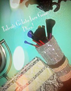 DIY Talenti gelato jars, make up brush holder, reused Talenti jars