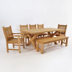 Teak Dining Set Capri Double Extension Table And Kensington - Teak table with benches