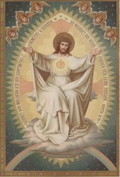 Sacred Heart of Jesus - Cease! The Sacred Heart of Jesus is with me! Religious Pictures, Jesus Pictures, Religious Icons, Religious Art, Christian Artwork, Christian Images, Jesus E Maria, Vintage Holy Cards, Jesus Christ Images