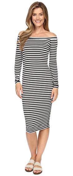 Hard Tail Off Shoulder Dress Black White Supplex Stripe Women S