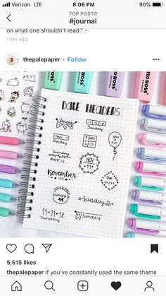 New doodle ideas for your bullet journal/study notes💕also this was the last page of my dotted notebook and it makes me… Bullet Journal Inspo, Bullet Journal Headers, Bullet Journal Aesthetic, Bullet Journal Notebook, Bullet Journal 2019, Bullet Journal Layout, Journal Fonts, Journal Ideas, Stationery Craft