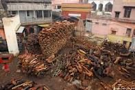 Woods being piled for use in cremation - Kashi